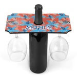 Blue Parrot Wine Bottle & Glass Holder (Personalized)