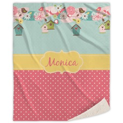 Easter Birdhouses Sherpa Throw Blanket (Personalized)