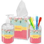 Easter Birdhouses Acrylic Bathroom Accessories Set w/ Name or Text