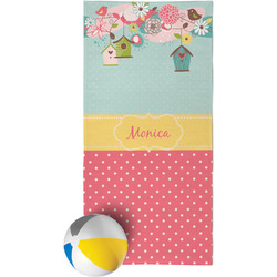 Easter Birdhouses Beach Towel (Personalized)
