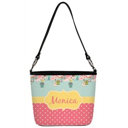 Easter Birdhouses Bucket Bag w/ Genuine Leather Trim (Personalized)