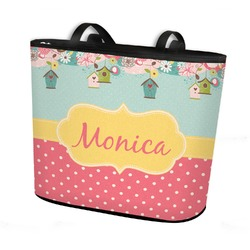 Easter Birdhouses Bucket Tote w/ Genuine Leather Trim (Personalized)