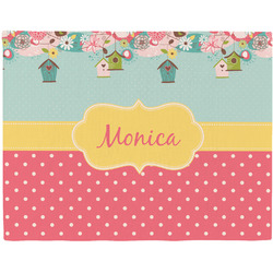 Easter Birdhouses Woven Fabric Placemat - Twill w/ Name or Text