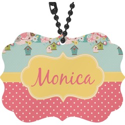 Easter Birdhouses Rear View Mirror Charm (Personalized)