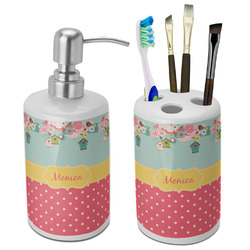 Easter Birdhouses Bathroom Accessories Set (Ceramic) (Personalized)