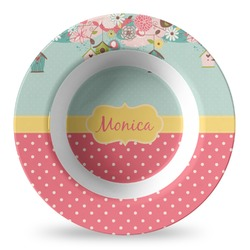 Easter Birdhouses Plastic Bowl - Microwave Safe - Composite Polymer (Personalized)