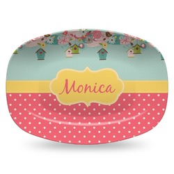 Easter Birdhouses Plastic Platter - Microwave & Oven Safe Composite Polymer (Personalized)
