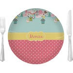 "Easter Birdhouses Glass Lunch / Dinner Plates 10"" - Single or Set (Personalized)"