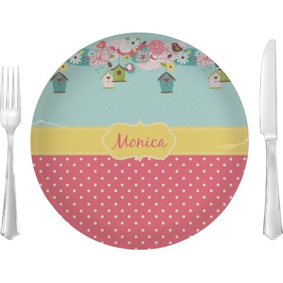 """Easter Birdhouses 10"""" Glass Lunch / Dinner Plates - Single or Set (Personalized)"""