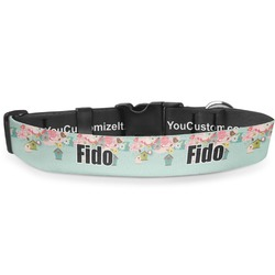 """Easter Birdhouses Deluxe Dog Collar - Double Extra Large (20.5"""" to 35"""") (Personalized)"""