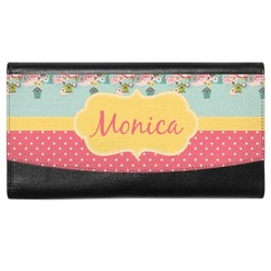 Easter Birdhouses Genuine Leather Ladies Wallet (Personalized)