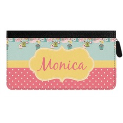 Easter Birdhouses Genuine Leather Ladies Zippered Wallet (Personalized)