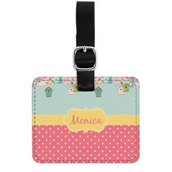 Easter Birdhouses Genuine Leather Luggage Tag w/ Name or Text