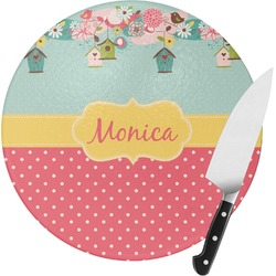 Easter Birdhouses Round Glass Cutting Board (Personalized)
