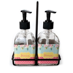 Easter Birdhouses Soap & Lotion Dispenser Set (Glass) (Personalized)