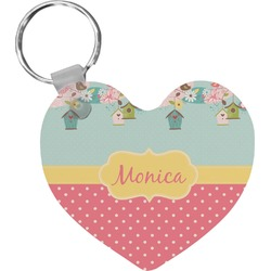 Easter Birdhouses Heart Keychain (Personalized)