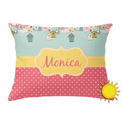 Easter Birdhouses Outdoor Throw Pillow (Rectangular) (Personalized)