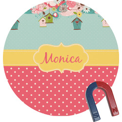 Easter Birdhouses Round Fridge Magnet (Personalized)
