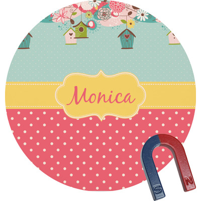 Easter Birdhouses Round Fridge Magnet (Personalized)