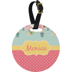 Easter Birdhouses Round Luggage Tag (Personalized)