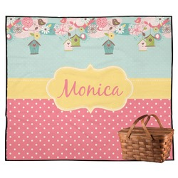 Easter Birdhouses Outdoor Picnic Blanket (Personalized)