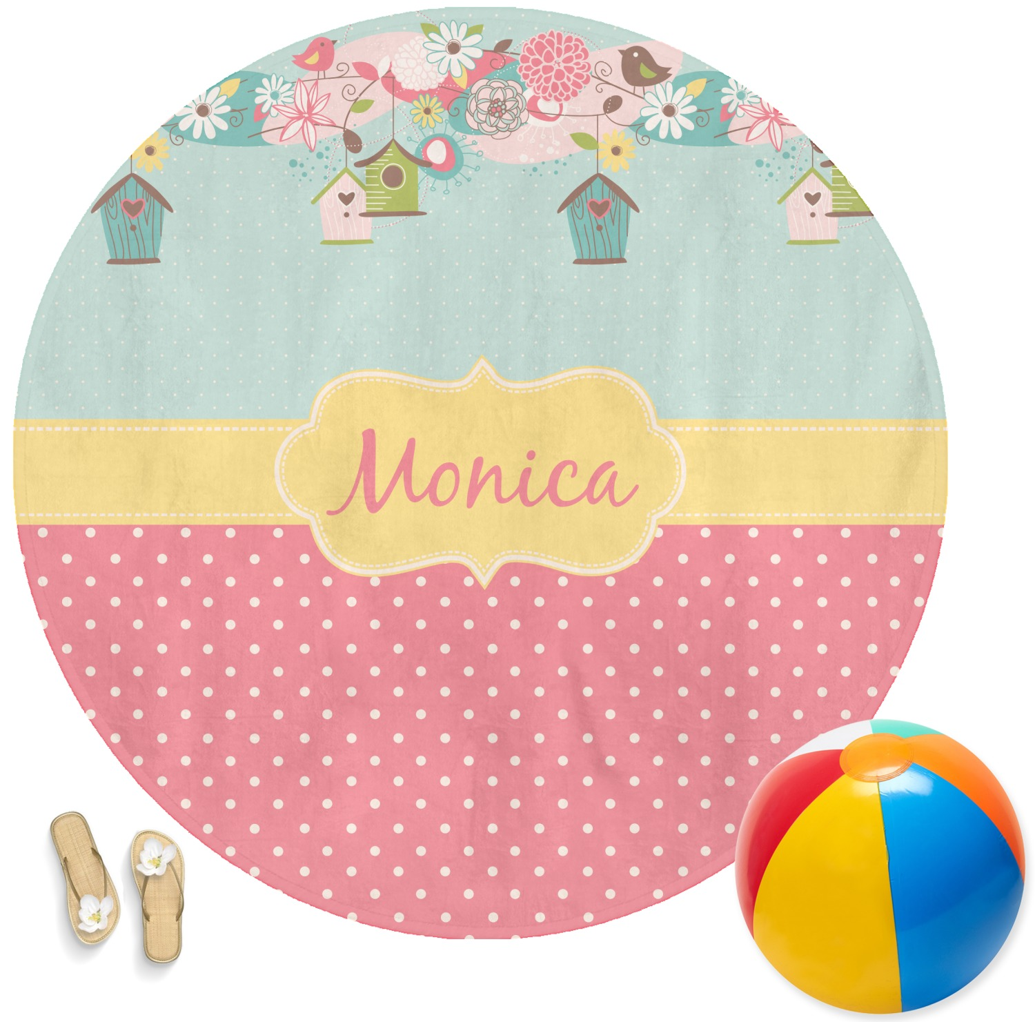 Easter Birdhouses Round Beach Towel Personalized