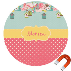 Easter Birdhouses Round Car Magnet (Personalized)