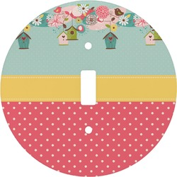 Easter Birdhouses Round Light Switch Cover (Personalized)