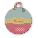 Easter Birdhouses Round Pet Tag (Personalized)