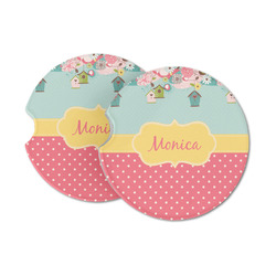 Easter Birdhouses Sandstone Car Coasters (Personalized)