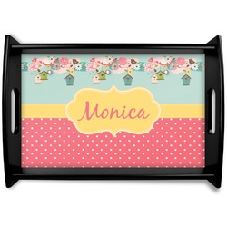Easter Birdhouses Black Wooden Tray (Personalized)