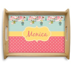Easter Birdhouses Natural Wooden Tray - Large (Personalized)