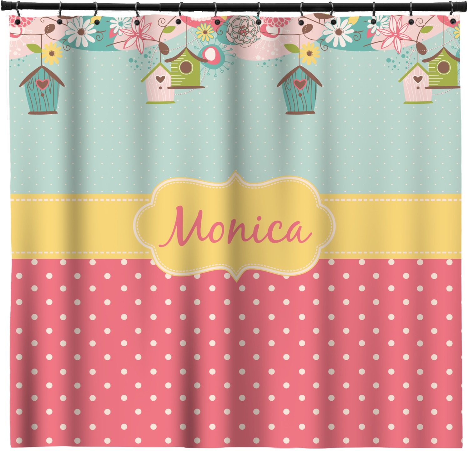 Easter Birdhouses Shower Curtain Personalized