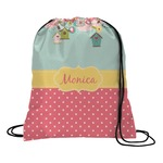 Easter Birdhouses Drawstring Backpack (Personalized)