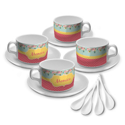 Easter Birdhouses Tea Cup - Set of 4 (Personalized)