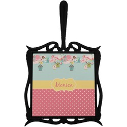 Easter Birdhouses Trivet with Handle (Personalized)