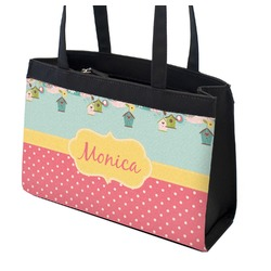 Easter Birdhouses Zippered Everyday Tote (Personalized)