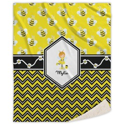 Buzzing Bee Sherpa Throw Blanket (Personalized)
