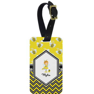 Buzzing Bee Metal Luggage Tag w/ Name or Text