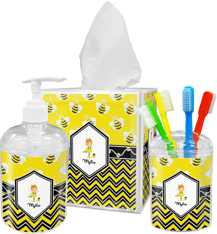 Buzzing Bee Bathroom Accessories Set (Personalized) - YouCustomizeIt