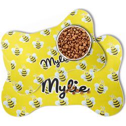 Buzzing Bee Bone Shaped Dog Food Mat (Personalized)