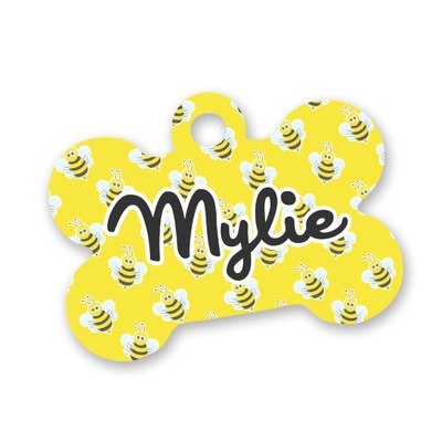Buzzing Bee Bone Shaped Dog Tag (Personalized)