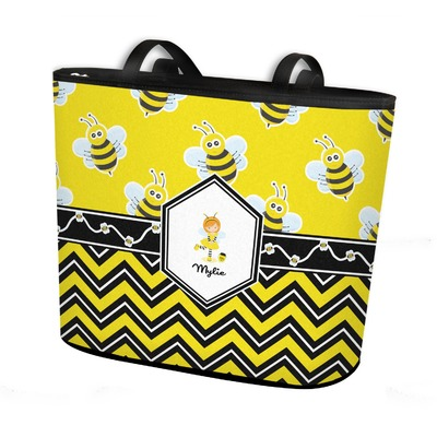 Buzzing Bee Bucket Tote w/ Genuine Leather Trim (Personalized)