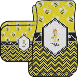 Buzzing Bee Car Floor Mats Set - 2 Front & 2 Back (Personalized)