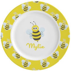 Buzzing Bee Ceramic Dinner Plates (Set of 4) (Personalized)
