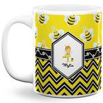 Buzzing Bee 11 Oz Coffee Mug - White (Personalized)