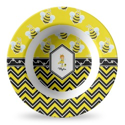 Buzzing Bee Plastic Bowl - Microwave Safe - Composite Polymer (Personalized)