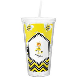 Buzzing Bee Double Wall Tumbler with Straw (Personalized)