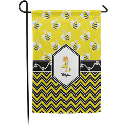 Buzzing Bee Single Sided Garden Flag With Pole (Personalized)