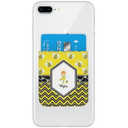 Buzzing Bee Genuine Leather Adhesive Phone Wallet (Personalized)